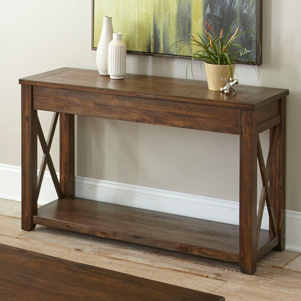 Rustic Lenka Sofa Table Mocha Finish Steve Silver Rustic Sofa Tables Rustic Sofa Sofa Table
