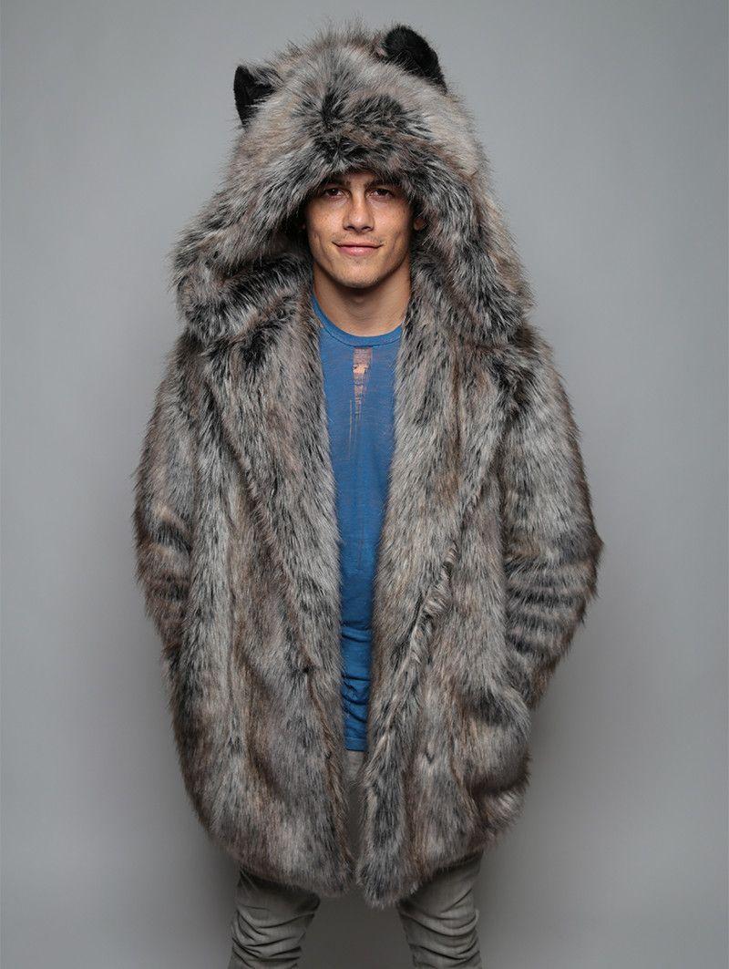 8831b8ac9 Classic Grey Wolf Faux Fur Coat | Men's fur coats/jackets | Fur coat ...
