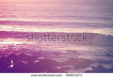 Retro vintage summer surfing shorebreak at sunrise. Chill out moment concept photography.