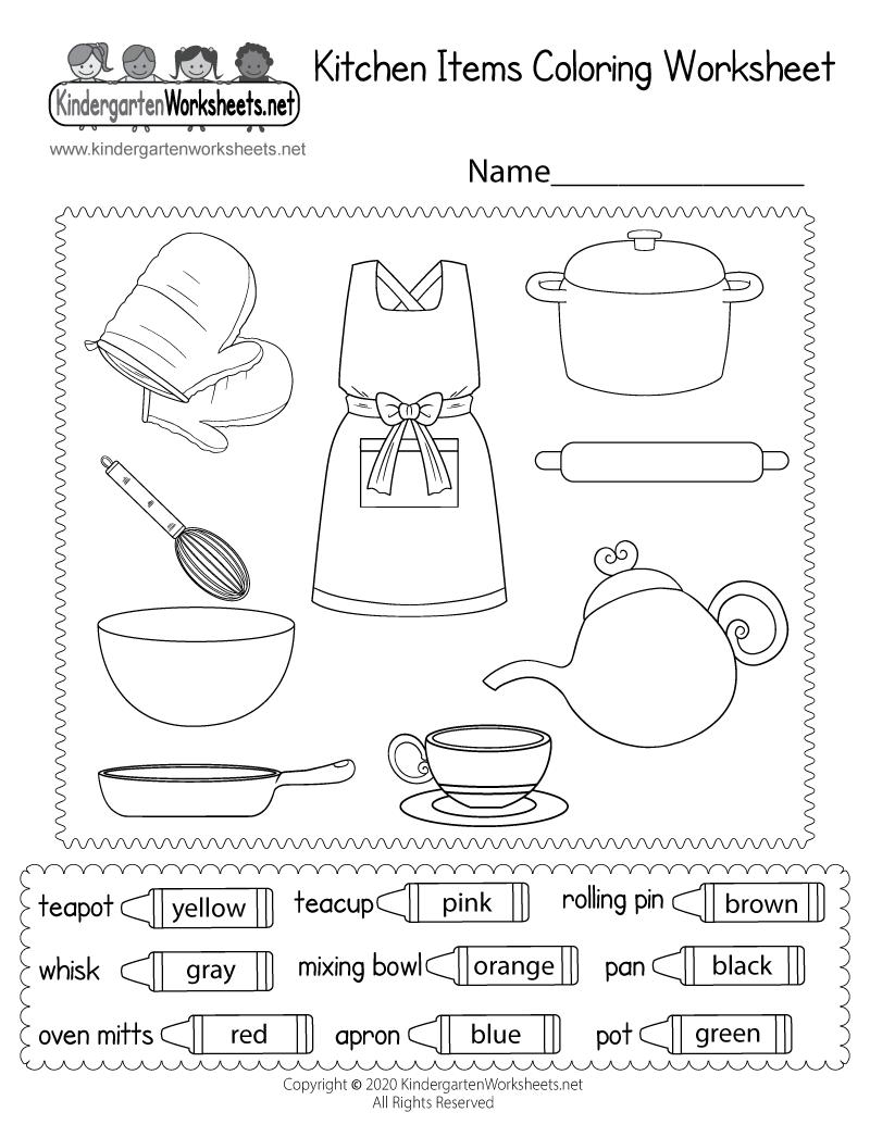 Kitchen Items Coloring Worksheet Free Printable Digital Pdf Color Worksheets Coloring Worksheets For Kindergarten Worksheets Free [ 1035 x 800 Pixel ]