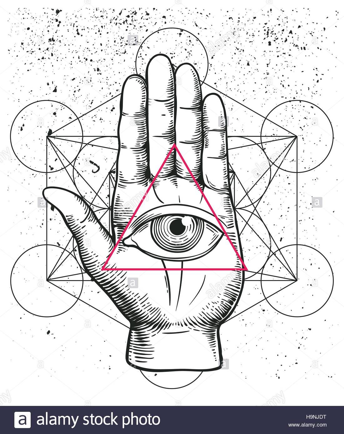 Hipster Illustration With Sacred Geometry Hand And All Seeing Eye Symbol Nside Triangle Pyramid