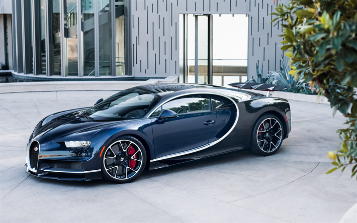 Download Wallpapers Bugatti Chiron, 2018, Hypercar, Supercar, Blue Black  Luxury