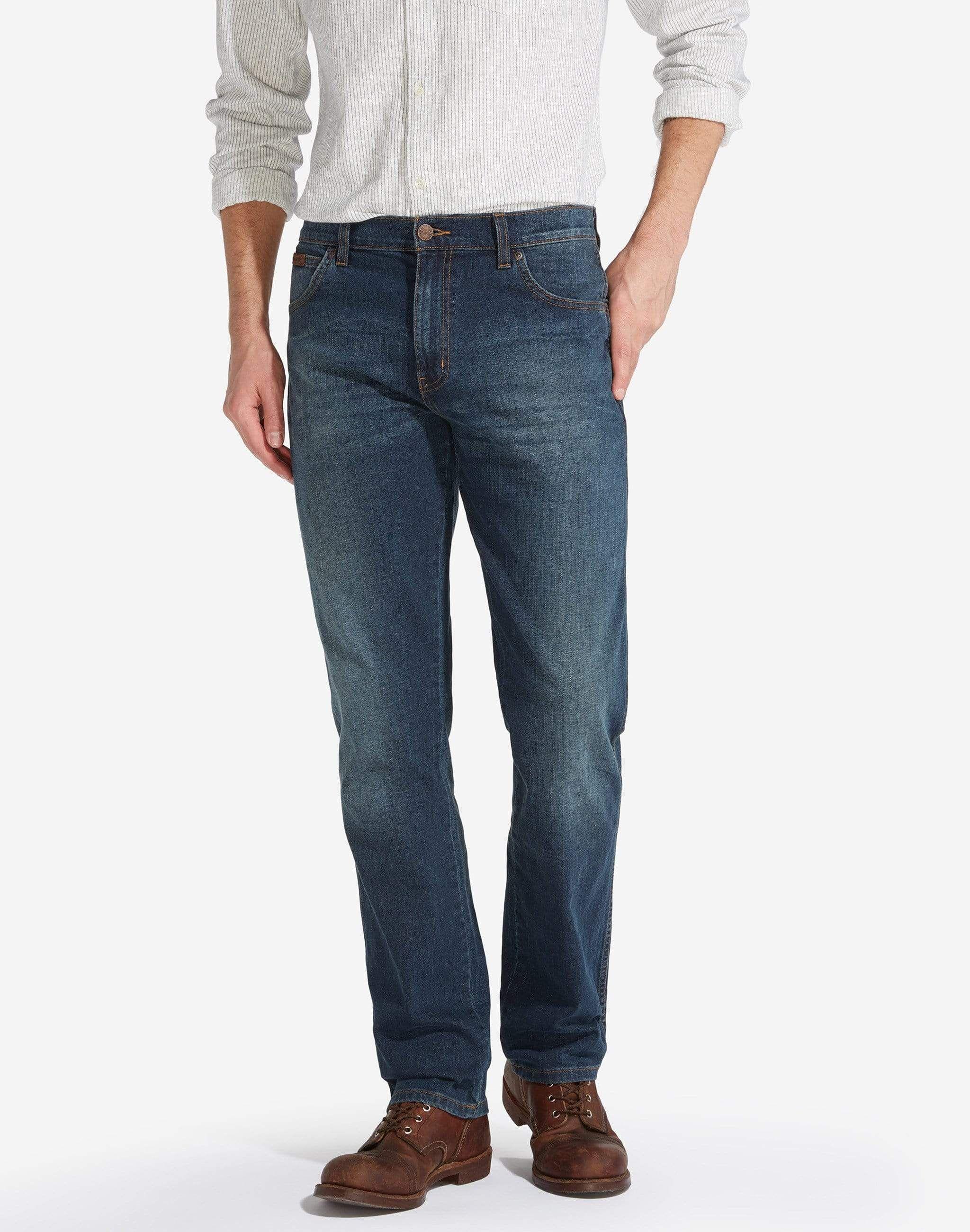 Classic Wrangler Regular Fit Texas Stretch Vintage Denim Jeans Pants  For Men
