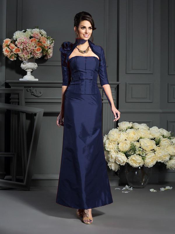 Abendkleid Brautmutterkleider Lang Weinrot Taft Bandeau