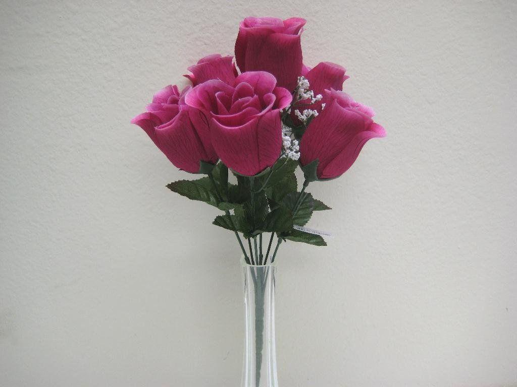 3 Bushes Fuchsia Rose Buds Artificial Silk Flowers 13 Bouquet 6