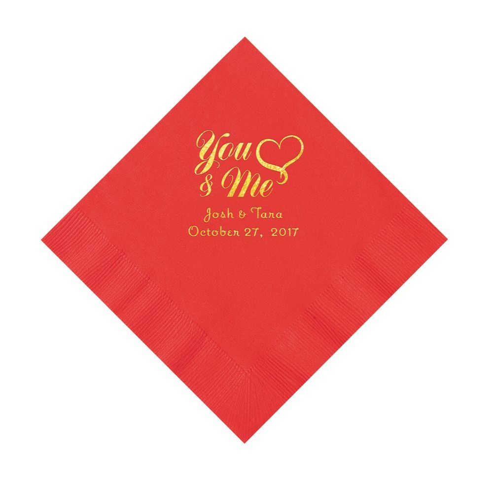 Red You & Me Heart Personalized Napkins with Gold Ink - Luncheon ...