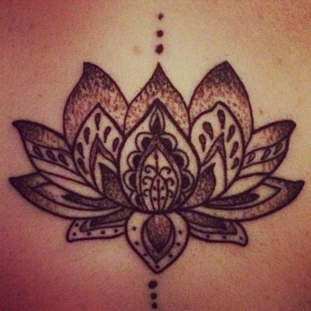 d13f66fa5ab75 Tattoo lotus flower black and white for work back I between shoulder blades  love it