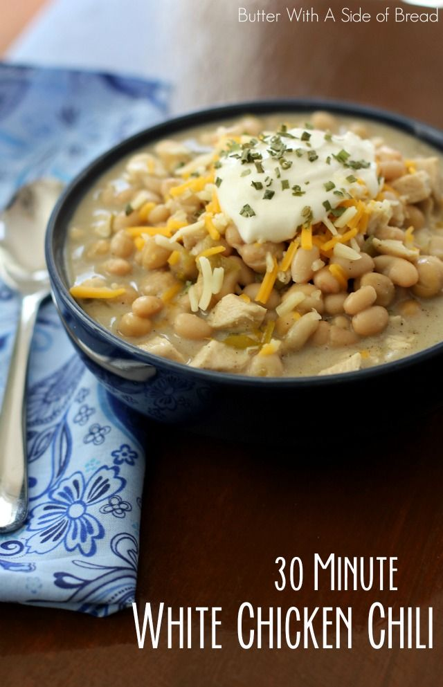 30-MINUTE WHITE CHICKEN CHILI - Butter with a Side of Bread