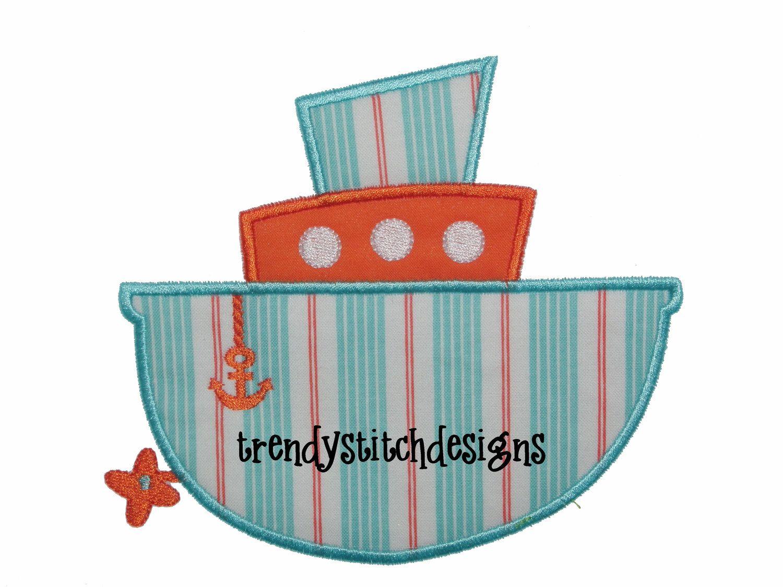 Tug boat applique design machine embroidery instant download tug