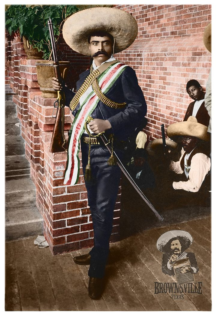 Emiliano Zapata c.1915 with Winchester rifle and German design lions head  ceremonial sword. Mexican Revolutionary icon 375fd448866