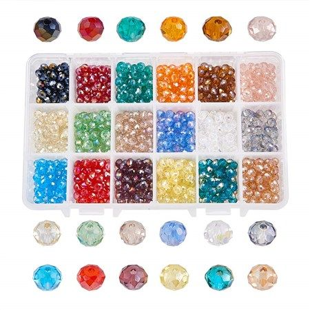 NBEADS 1080PCS 6mm Mixed Color Crystal Abacus Faceted Glass Beads Electroplate Loose Beads Jewelry Making Container Box - Beebeecraft.com