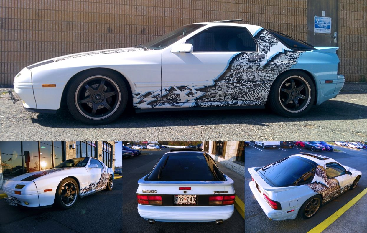 our graphics guy says goodbye to his mazda rx 7 fc drift car the touge bomber stickerbomb. Black Bedroom Furniture Sets. Home Design Ideas
