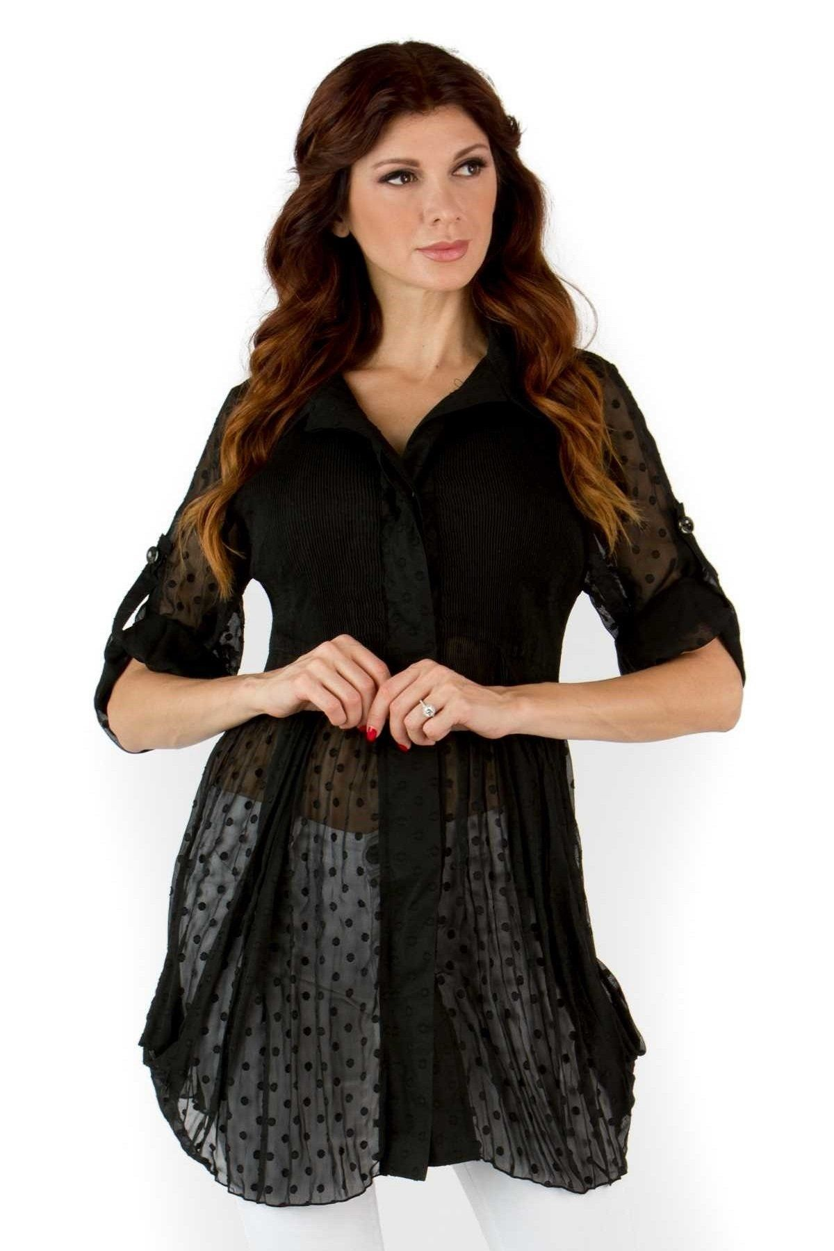 Front View Woman Wearing Black Dotted Swiss Side D