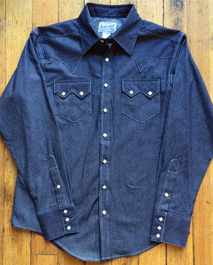 Slim fit no wash denim western shirt rockmount ranch for Levis vintage denim shirt 1950 sawtooth slim fit