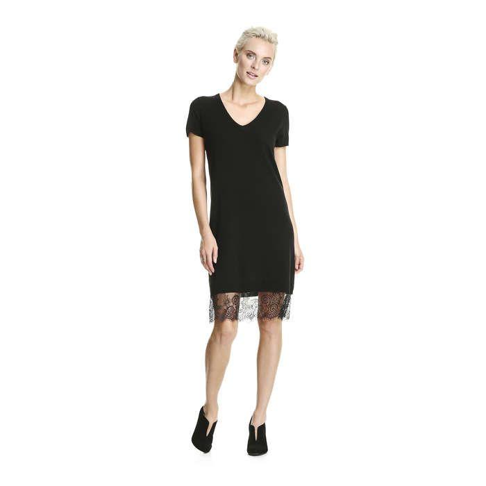 Lace Trim Sweater Dress In Jf Black