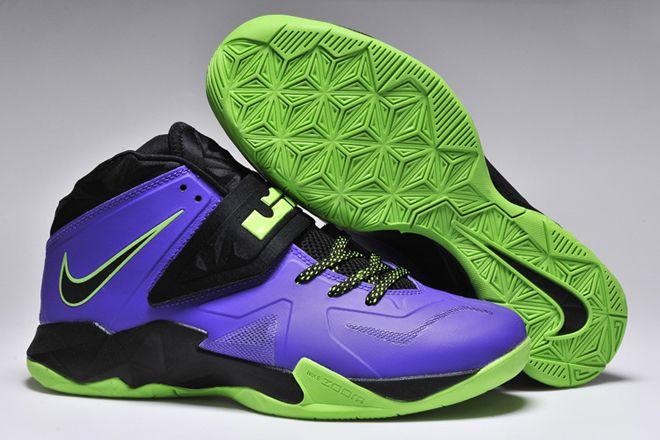 7534e78097f714 Nike Zoom Soldier Vii Lebron Men Size Shoes Court Purple Blueprint Flash  Lime