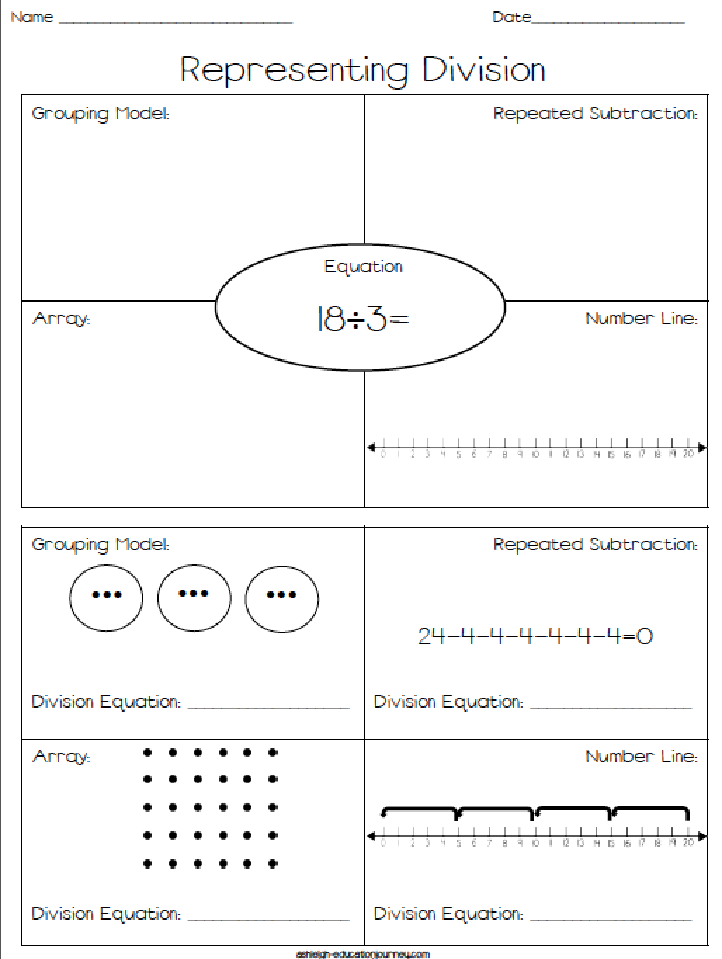 Representing Division-FREE Worksheet where students represent ...