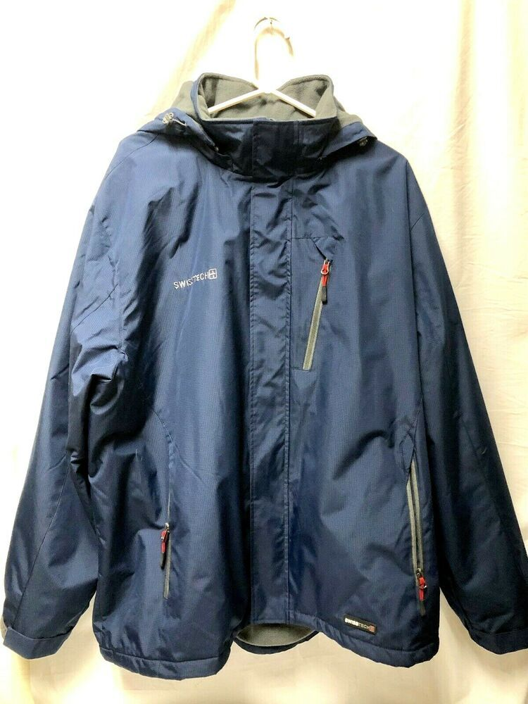 Gray Inner Fleece Lining. Navy Blue Outer Shell. Hood