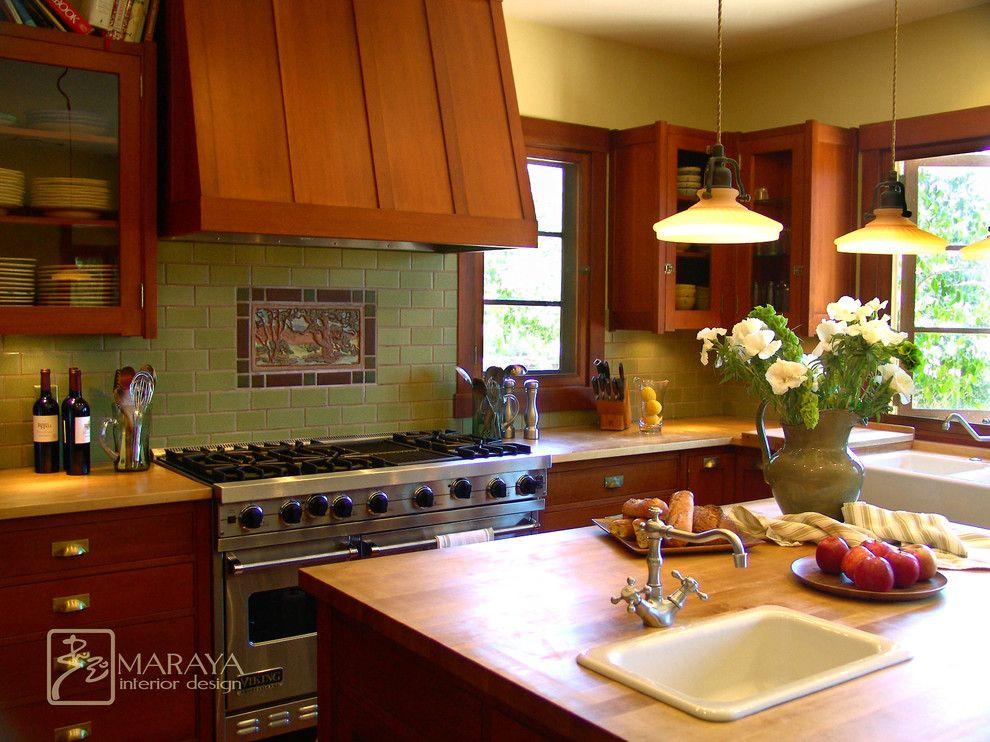 Good Impressive Fir Cabinets In Kitchen Craftsman With Craftsman Tile Next To  Tile Behind Stove Alongside Tile