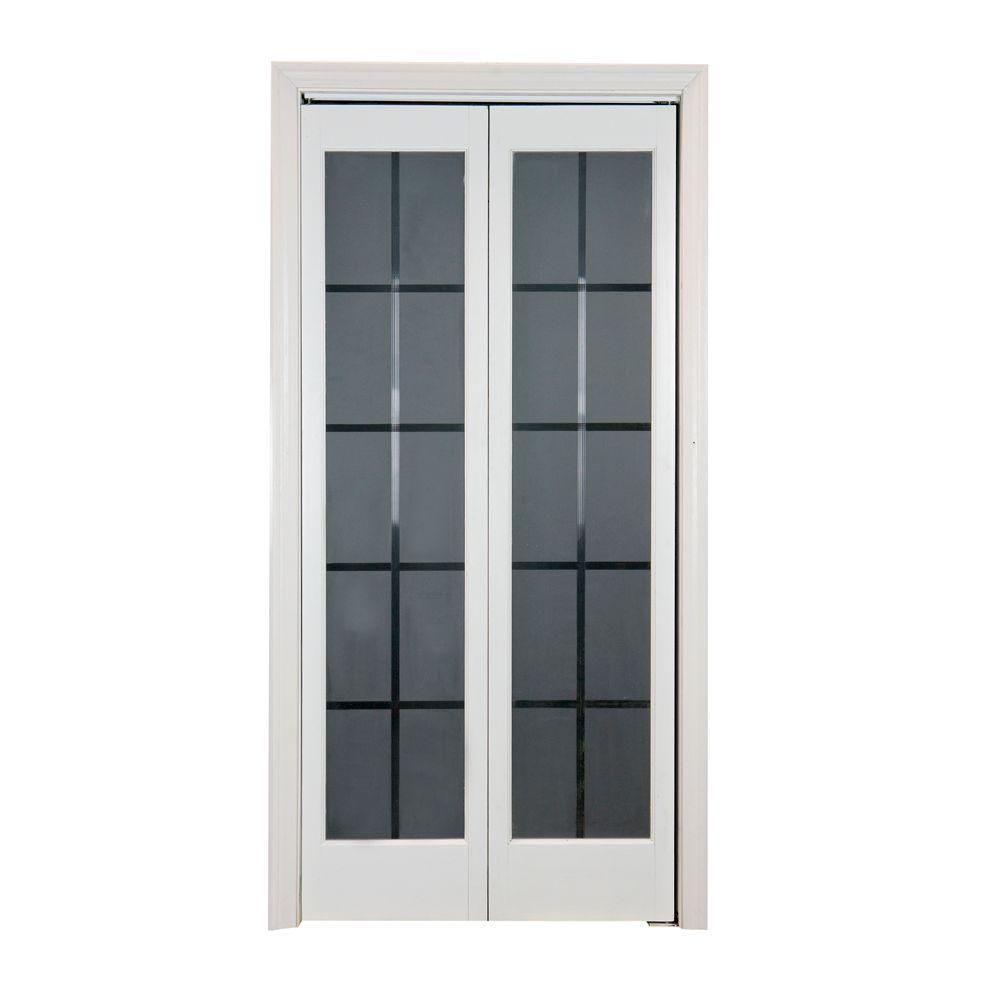 Pinecroft 737 Series 36 In X 80 1 2 In Prefinished White Colonial Glass Universal Reversible Bi Fold Do French Doors Interior Garage Door Design Bifold Doors