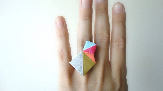 geometric ring by nomilktoday on etsy