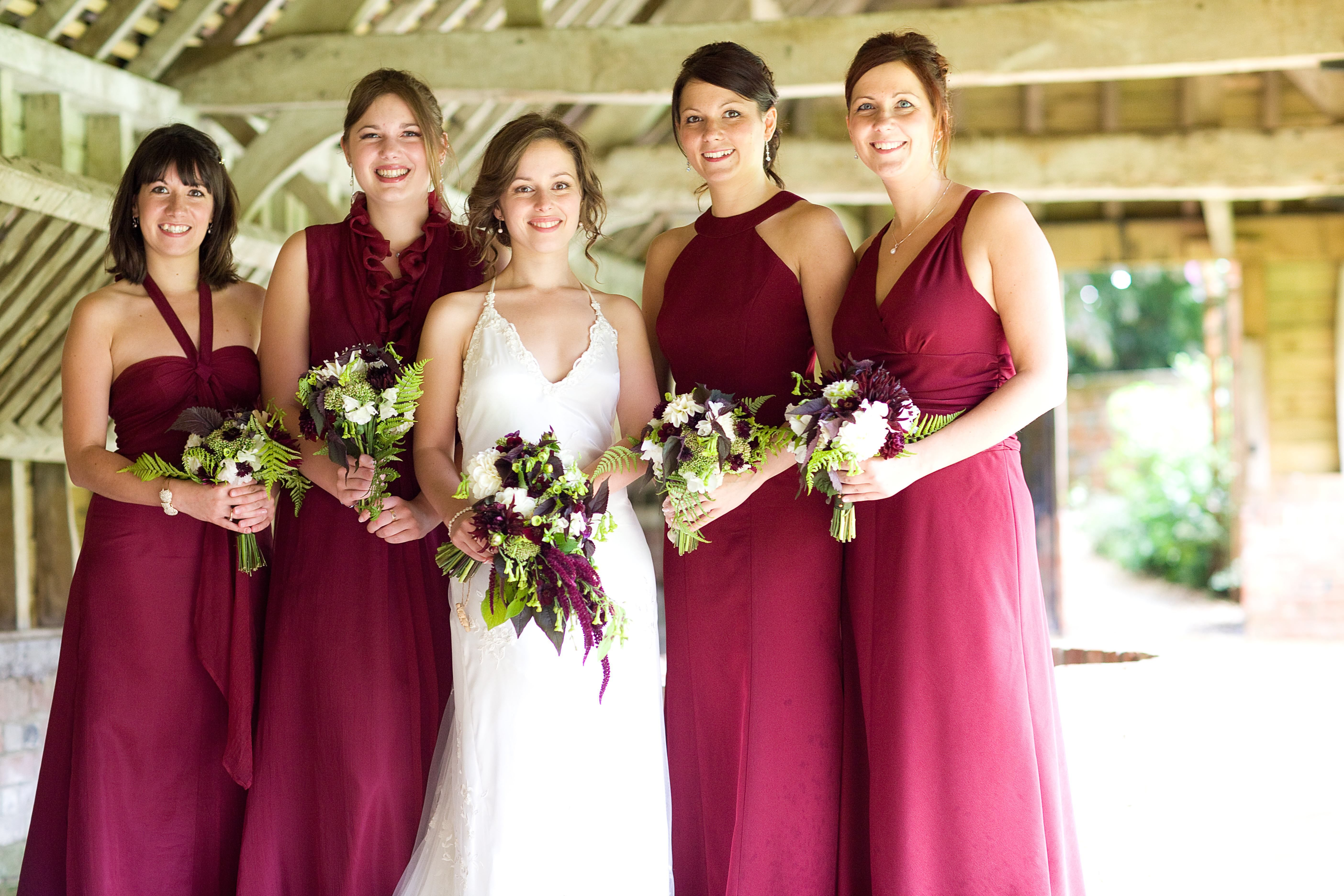 Chocolate and cosmos bouquets with burgundy bridesmaid dresses chocolate and cosmos bouquets with burgundy bridesmaid dresses lovely fall wedding idea ombrellifo Image collections