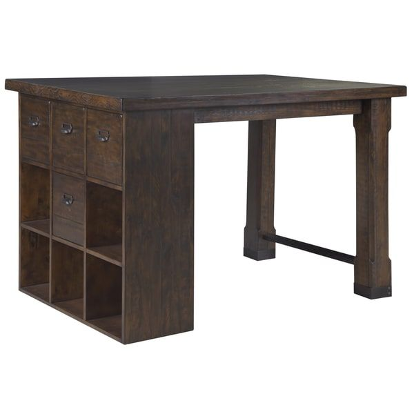 Sewing Project Work Table Pine Hill Asymmetrical Counter Height Desk With Cube Storage Drawers