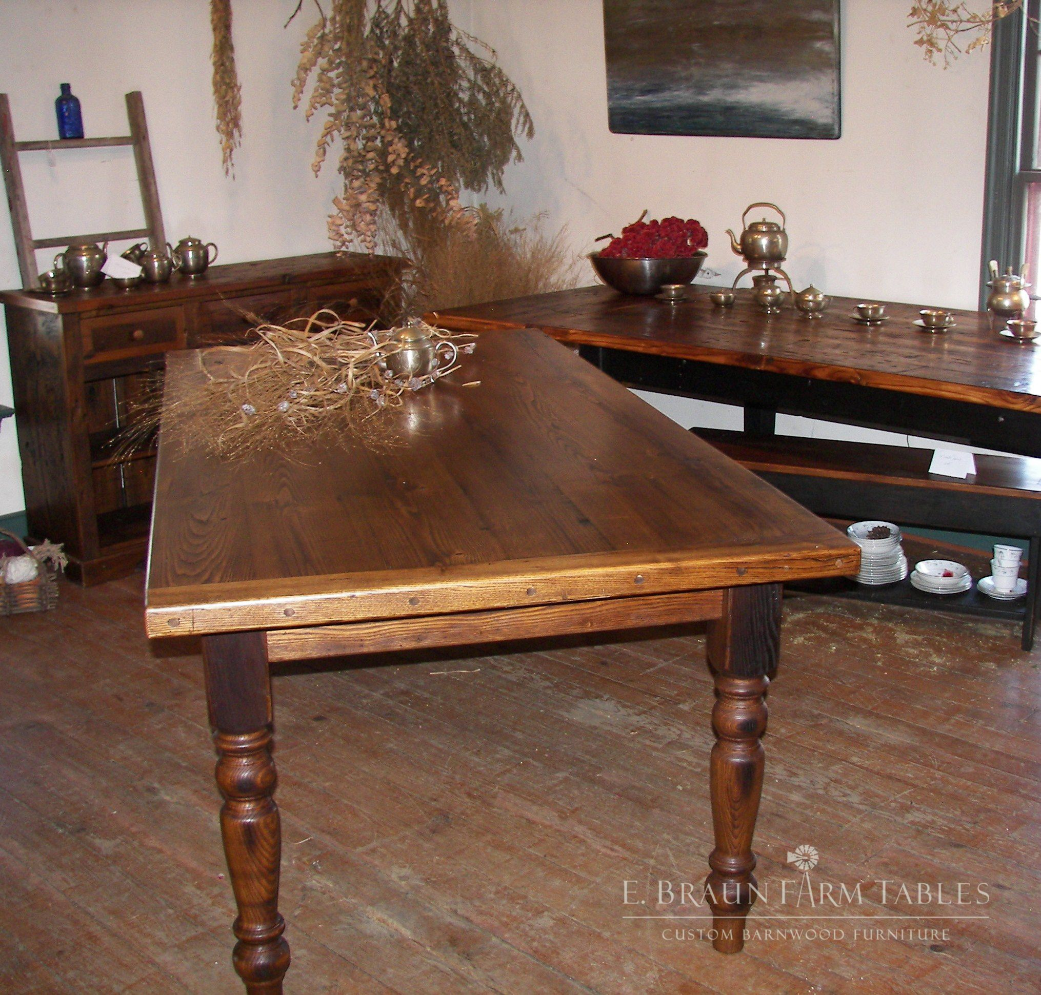 American Chestnut (reclaimed wood) farm table with turned