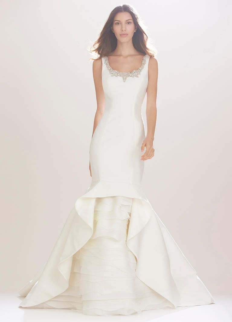 trumpet wedding dress with jeweled collar and layered skirt