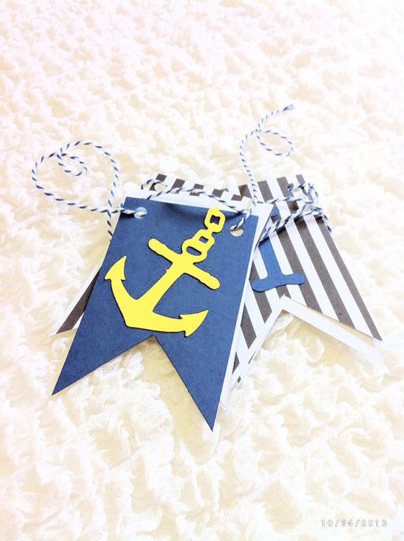 Grey Navy and Yellow AHOY It's a BOY Banner by BostonsTerrier, $20.00