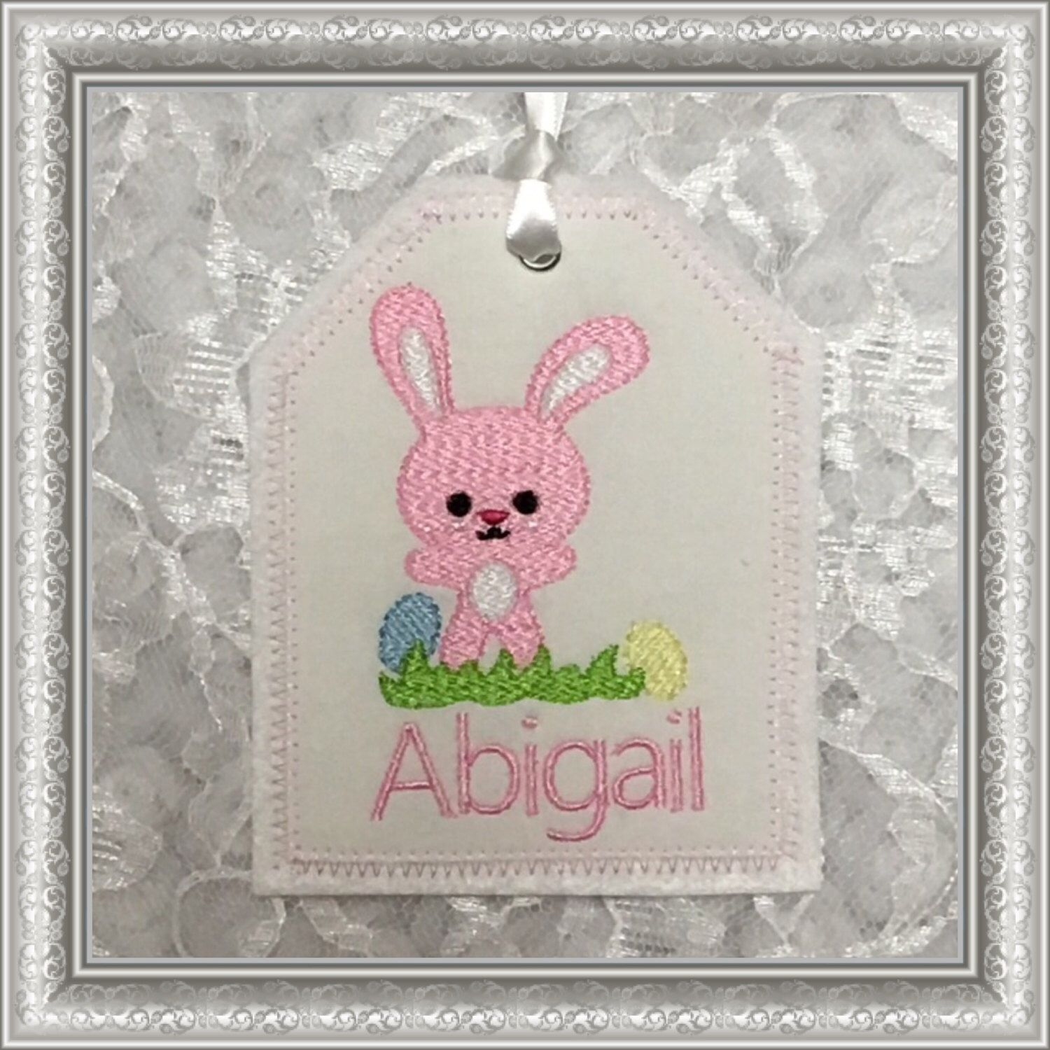 Easter basket personalized embroidered gift tag easter basket easter basket personalized embroidered gift tag easter basket gift tag embroidered gift tag fabricreusable embroidered gift tag negle Choice Image