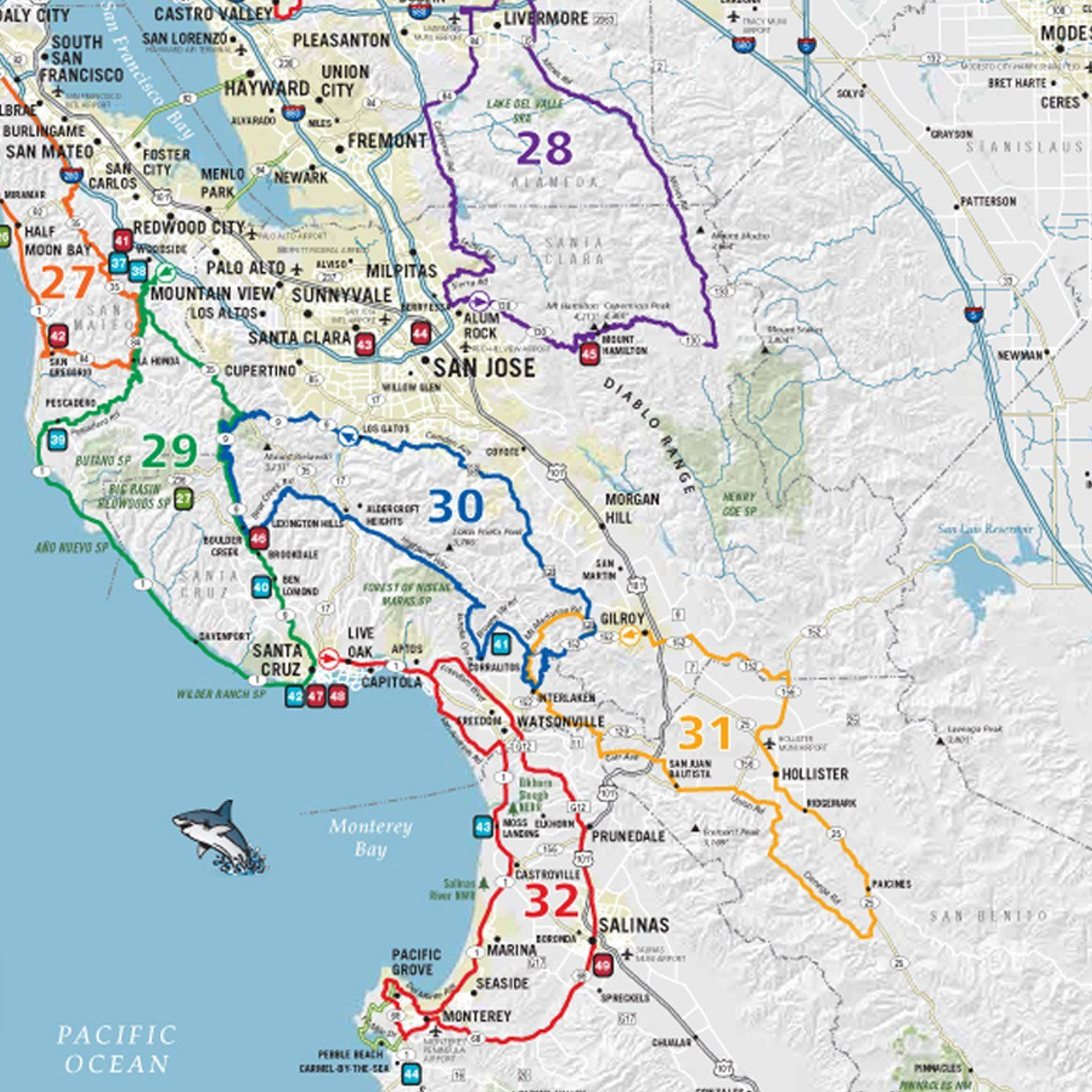 USRT021 - Scenic Road Trips Map of - Northern California ... on california interstate map and towns, california coastal trip planner, california west coast driving route planner, colorado road trip planner, the map of usa trip planner, california coast road trip planner,