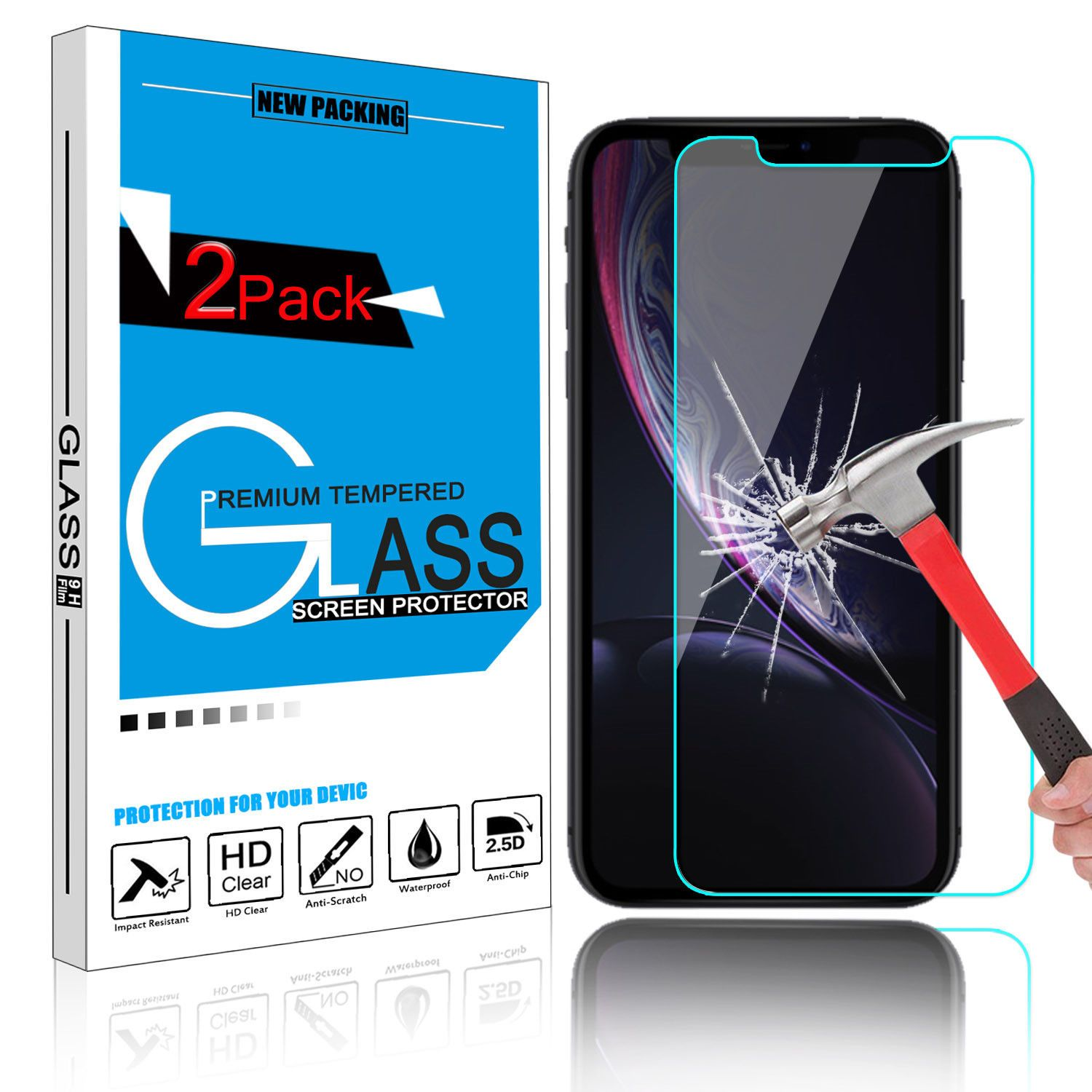 For Apple iPhone XR Premium Clear 9H Tempered Glass Screen