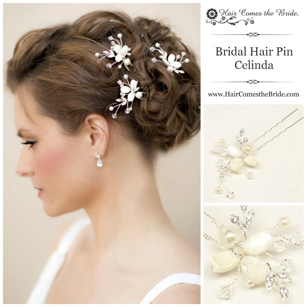 mother of pearl bridal hair pin by hair comes the bride