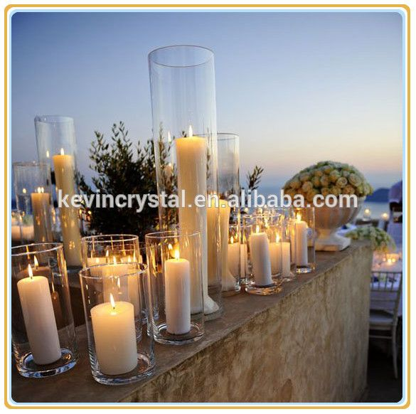 Hot Sale Clear Glass Cylinder Candleholder Tall Glass Cylinder Candle Holders Wedding Centerpieces Glass Cylinder Vases Wedding Table Decorations Centerpieces
