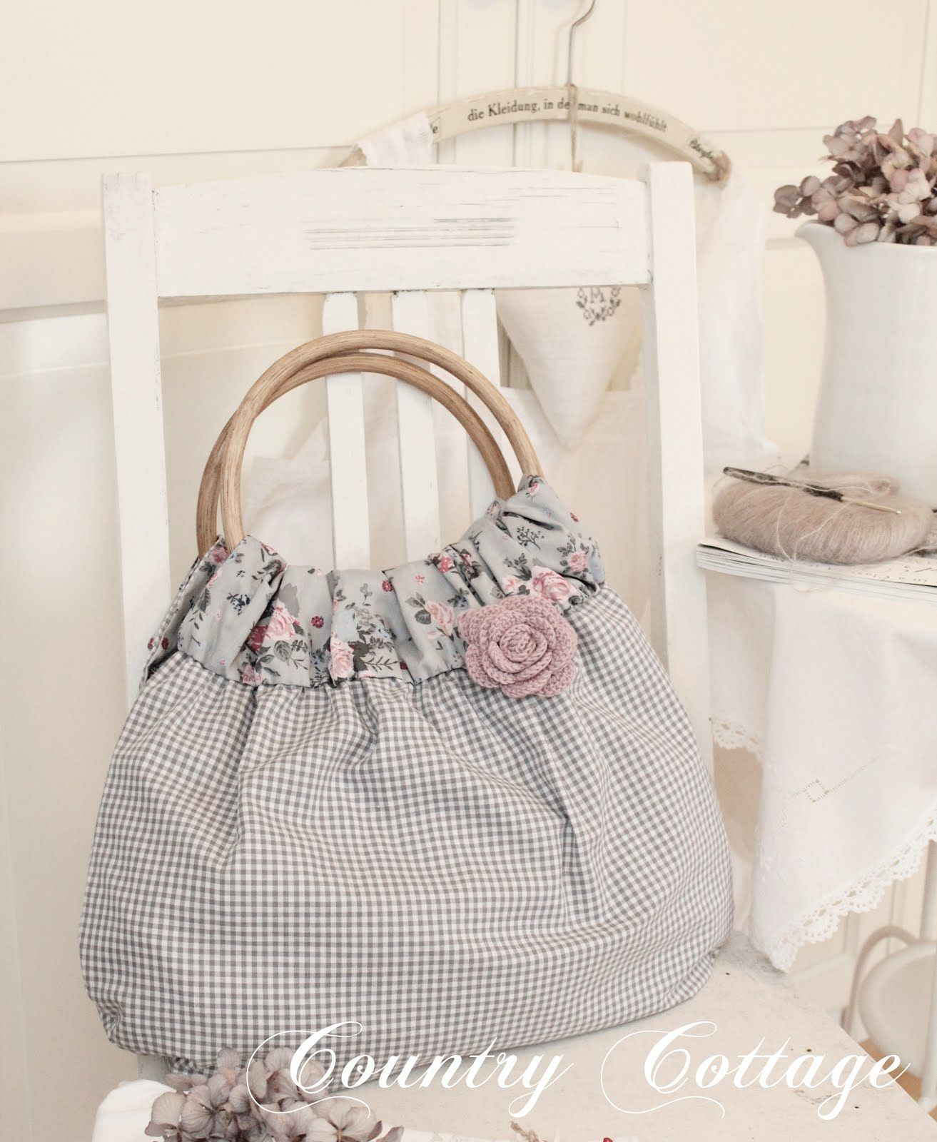 cute shabby chic bag purse blue grey pink gingham with floral n hen pinterest. Black Bedroom Furniture Sets. Home Design Ideas