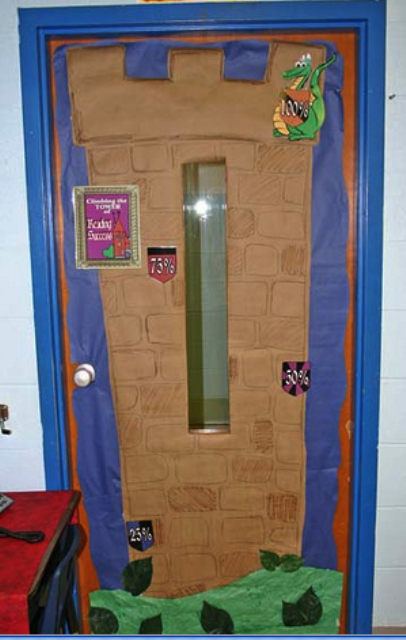 christmas reading decor on doors