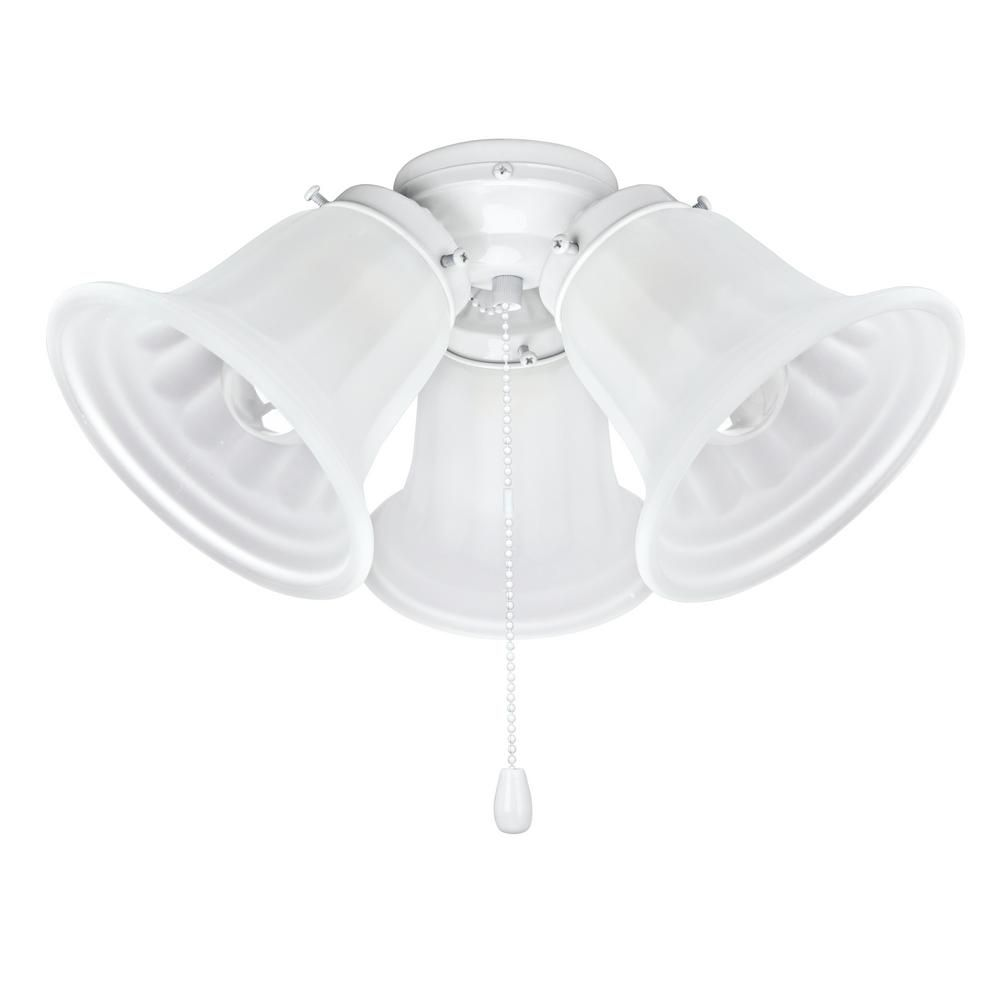 Aspen Creative Corporation 3 Light 5 1 2 In Painted White Ceiling Fan Fitter Light Kit With Pull Chain 1 Pack 22002 21 The Home Depot White Ceiling Fan Lighting Ceiling Fans Ceiling Fan