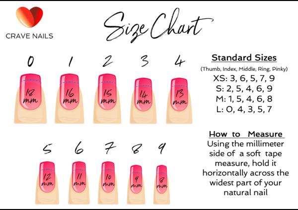 Size Chart Fake Nails Press On Nail Size Chart Nail Sizes Press On Nails Stick On Nails
