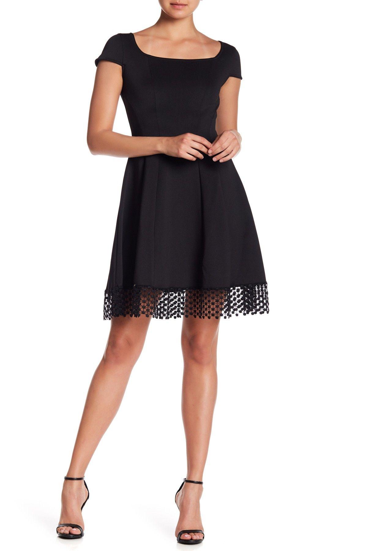 d9810d8a576f Donna Ricco Dotted Crochet Hem Dress