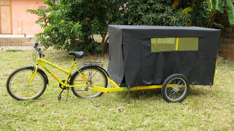 Zambikes makes a bicycle trailer that organizations and individuals within the country have outfitted to serve as ambulances.