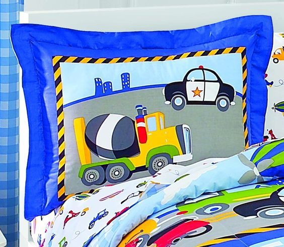 Amazon.com: Dream Factory Trucks Tractors Cars Boys 5-Piece Comforter Sheet Set, Blue Red, Twin: Home & Kitchen: