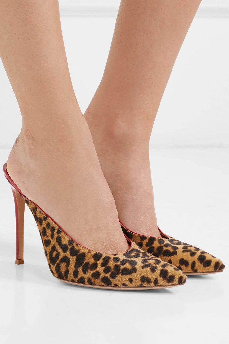 06bdebccbbba Gianvito Rossi | 105 leopard-print calf hair and patent-leather mules |  NET-A-PORTER.COM
