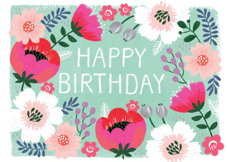 Bountiful Blossoms Birthday Card Free Greetings Island Happy Birthday Cards Birthday Card Template Happy Birthday Art