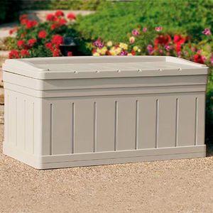 Suncast 129 Gal Deck Box With Seat Mills Fleet Farm Patio Storage Patio Storage Box Outdoor Storage Bench