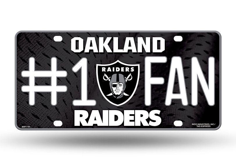 Oakland Raiders 6 X 12 Metal 1 Fan Nfl License Plate Nfl Oakland Raiders Oakland Raiders Raiders