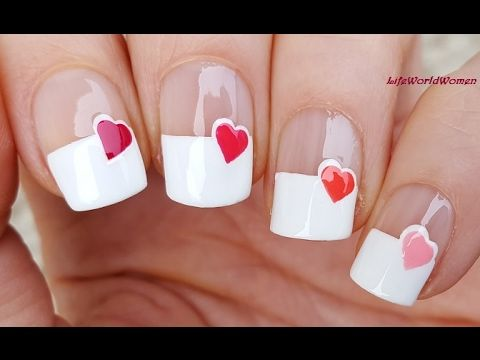 Wide French Manicure With Heart Nail Design Valentines Day Idea