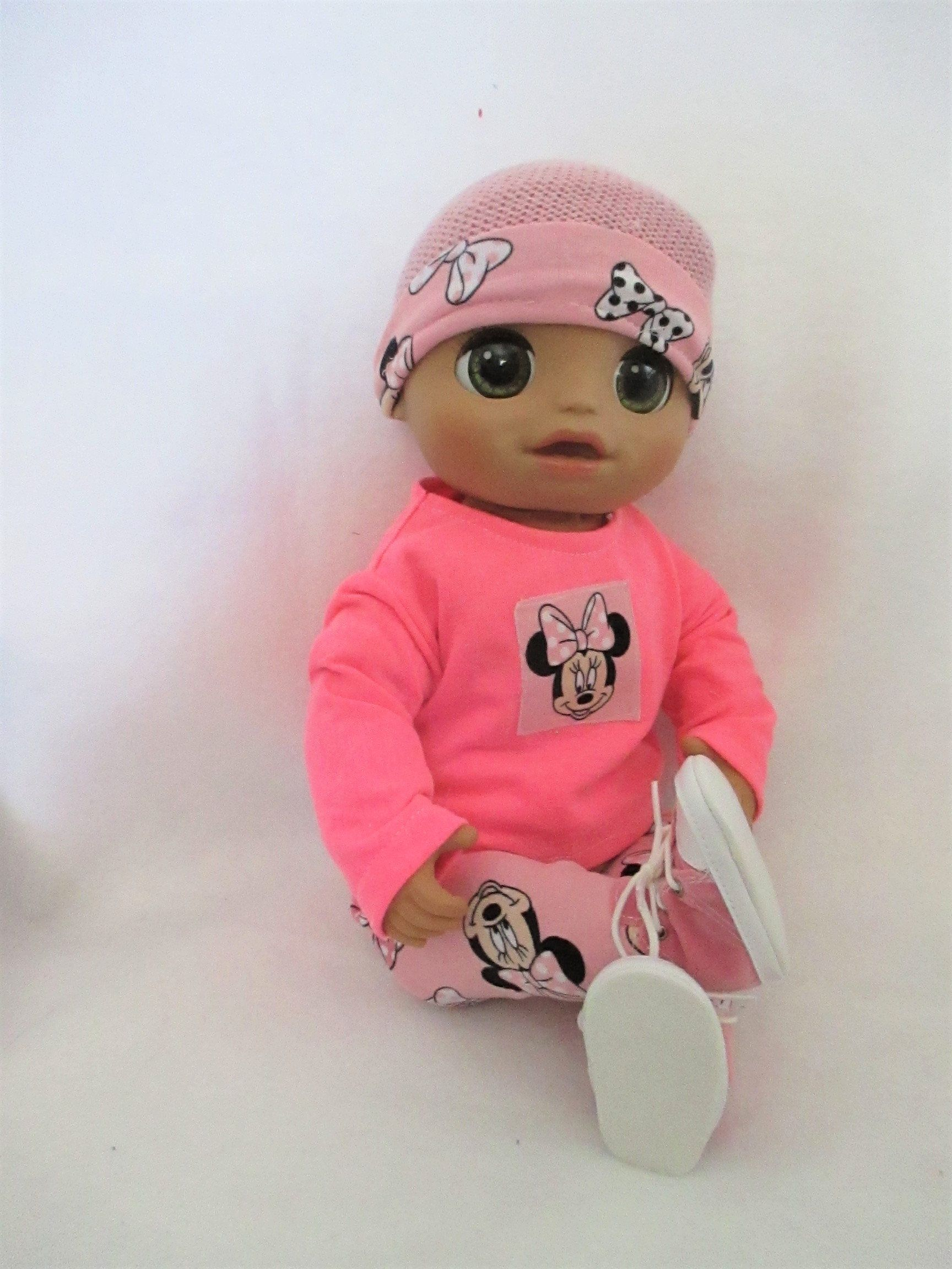 Baby Alive Clothes As Real As Can Be Doll Outfit 4 Pc Minnie Mouse Hat Cotton Tee Leggings Pink Tennis Sh Baby Alive Doll Clothes Baby Alive Baby Alive Dolls