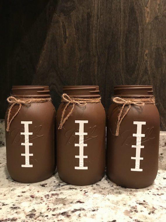 Football mason jars / football jars / football birthday / football party decor / boy birthday decor / football centerpiece / boy baby shower #boybirthdayparties