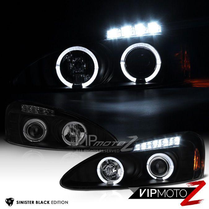 "2004-2008 Pontiac Grand Prix /""SINISTER BLACK/"" CCFL Halo LED DRL Headlights Lamps"